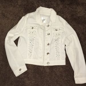 White jean jacket with bejewels
